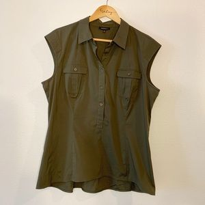 Lafayette 148 Olive Green Sleeveless Button Up Top